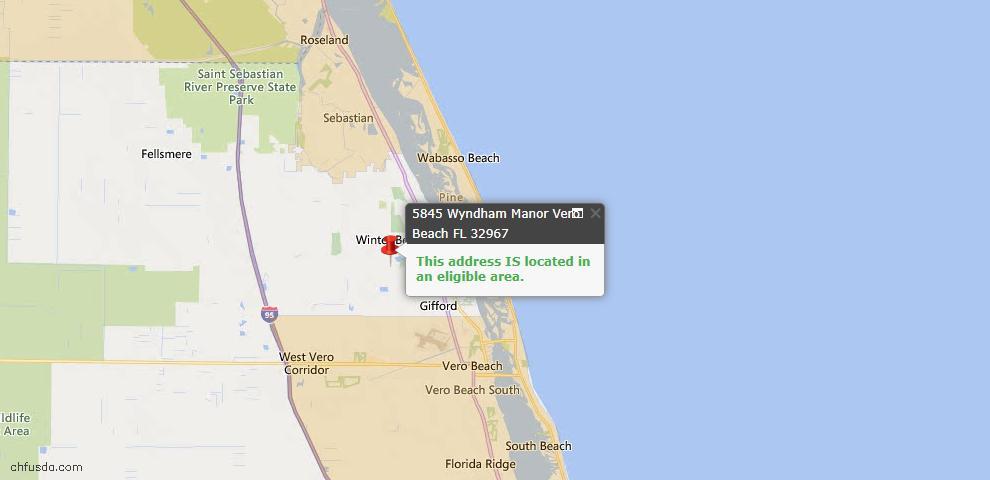 USDA Loan Eligiblity Map - 5845 Wyndham Mnr, Vero Beach, FL 32967