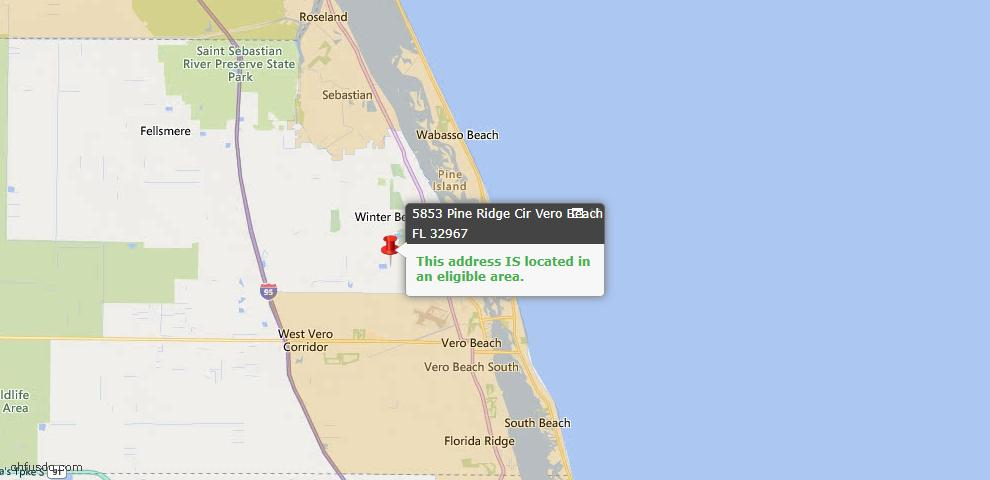 USDA Loan Eligiblity Map - 5853 Ridge Cir, Vero Beach, FL 32967