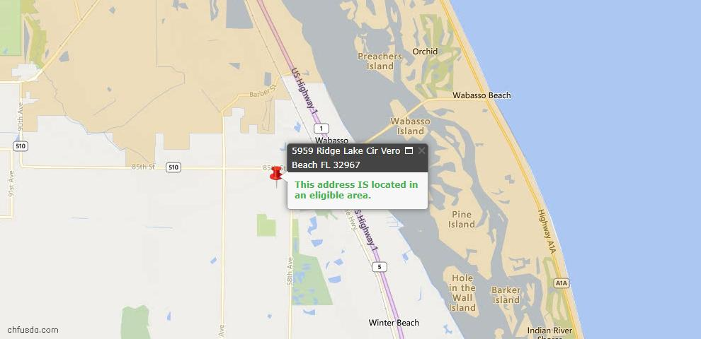 USDA Loan Eligiblity Map - 5959 Ridge Lake Cir, Vero Beach, FL 32967