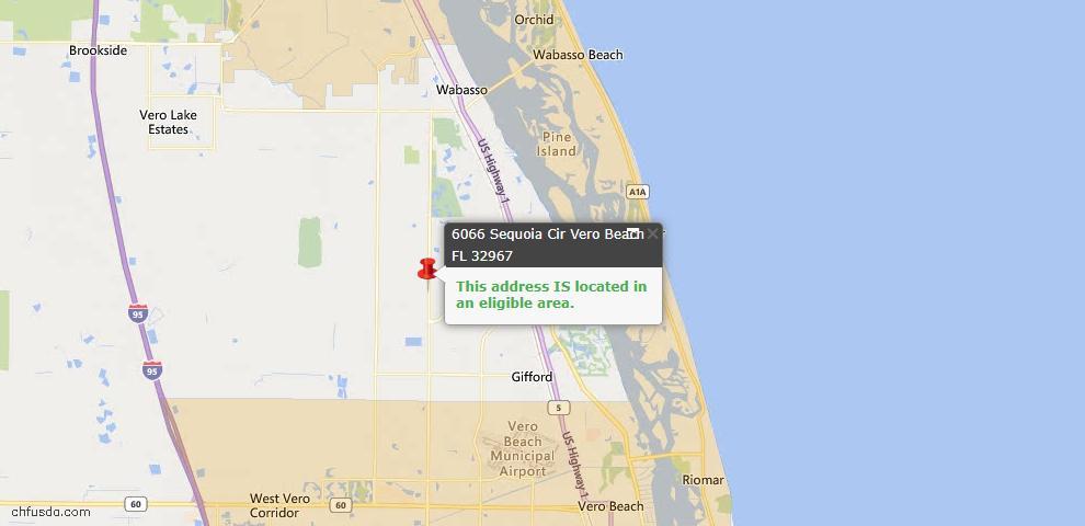 USDA Loan Eligiblity Map - 6066 Sequoia Cir, Vero Beach, FL 32967