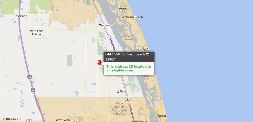 USDA Loan Eligiblity Map - 6447 55th Sq, Vero Beach, FL 32967