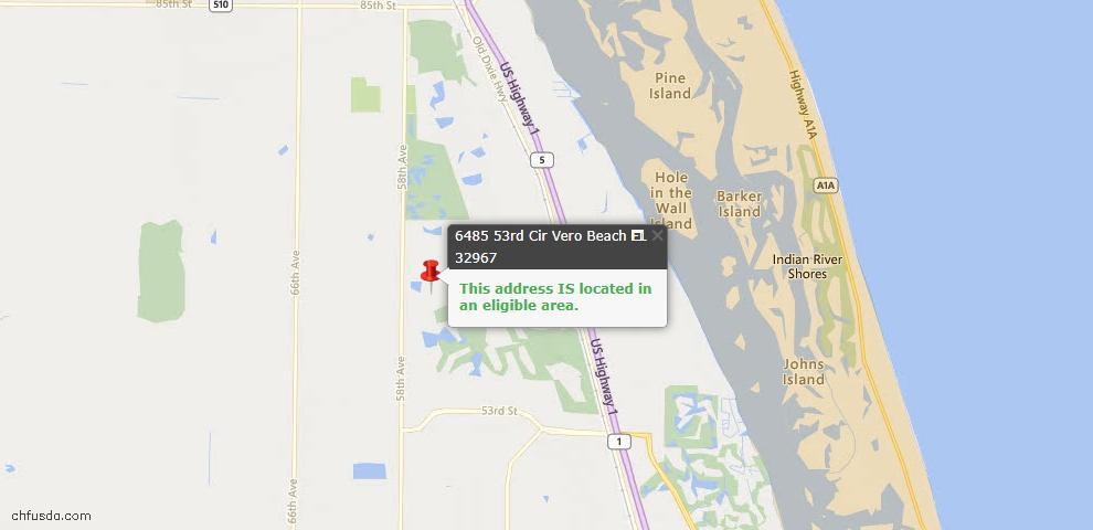 USDA Loan Eligiblity Map - 6485 53rd Cir, Vero Beach, FL 32967