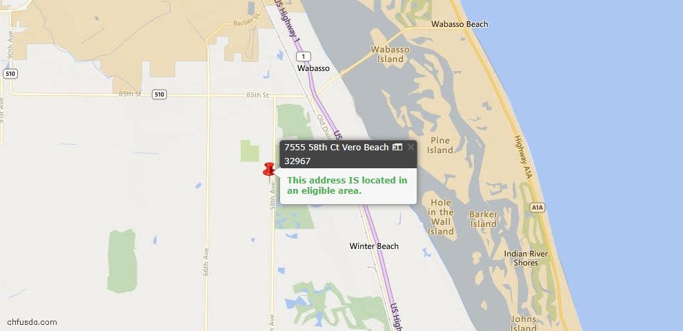 USDA Loan Eligiblity Map - 7555 58th Ct, Vero Beach, FL 32967