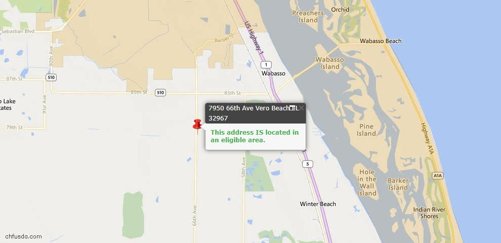 USDA Loan Eligiblity Map - 7950 66th Ave, Vero Beach, FL 32967