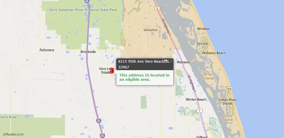 USDA Loan Eligiblity Map - 8215 95th Ave, Vero Beach, FL 32967