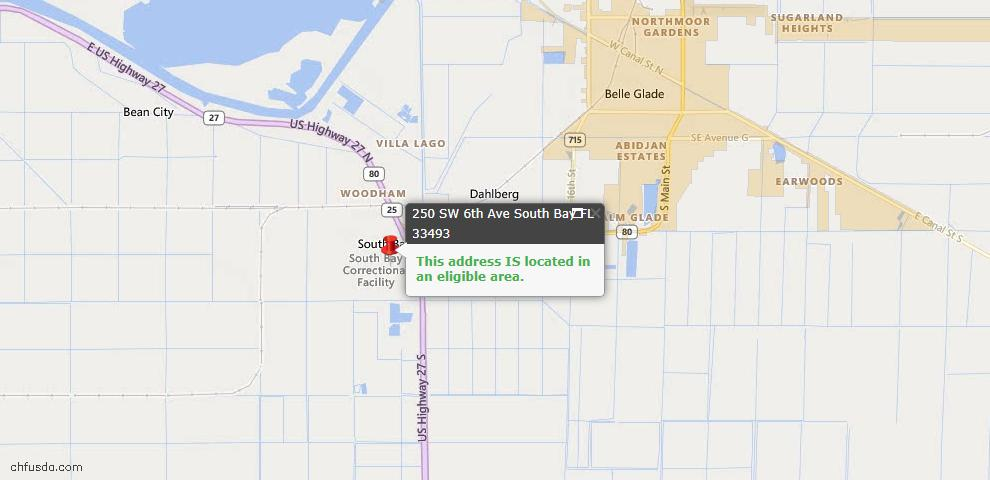USDA Loan Eligiblity Maps From - South Bay, FL