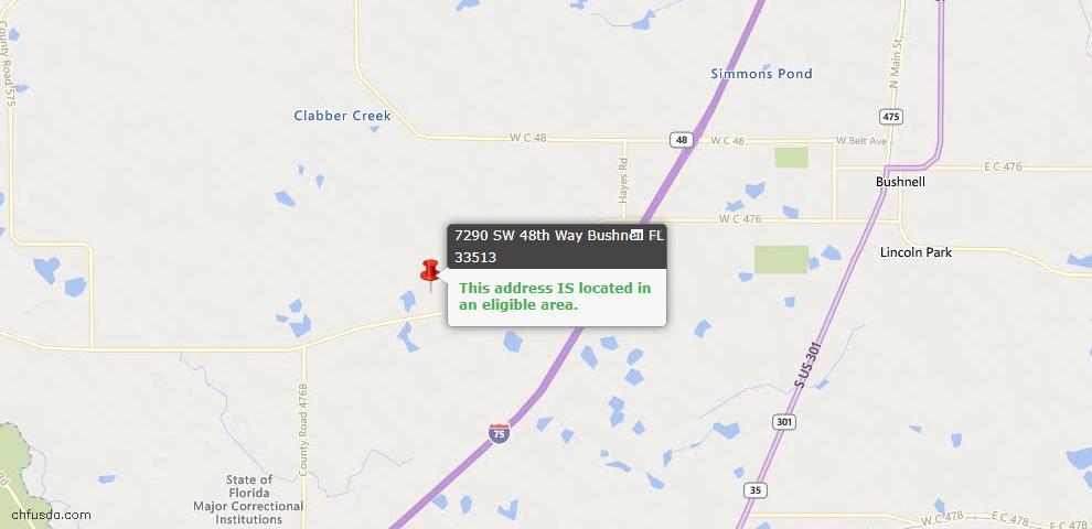 USDA Loan Eligiblity Maps From - Bushnell, FL