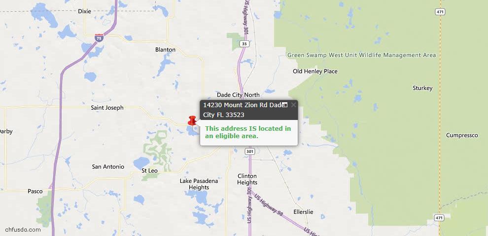 USDA Loan Eligiblity Map - 14230 Mount Zion Rd, Dade City, FL 33523