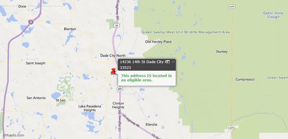 USDA Loan Eligiblity Map - 14236 14th St, Dade City, FL 33523