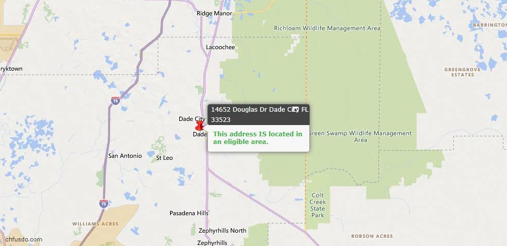 USDA Loan Eligiblity Map - 14652 Douglas Dr, Dade City, FL 33523