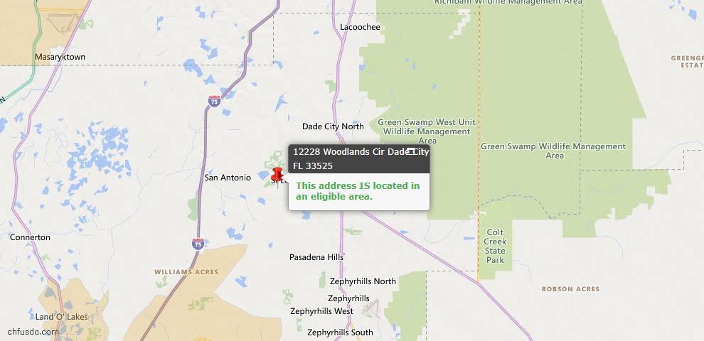 USDA Loan Eligiblity Map - 12228 Woodlands Cir, Dade City, FL 33525