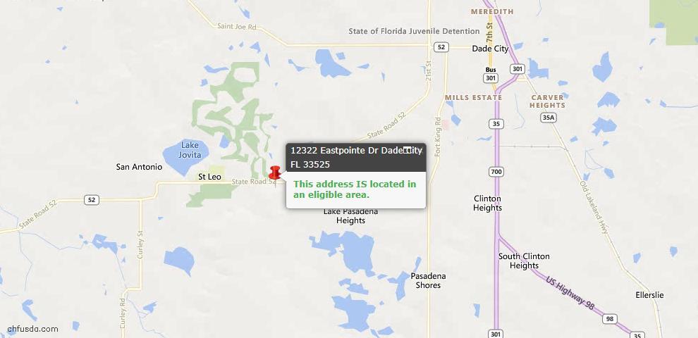 USDA Loan Eligiblity Map - 12322 Eastpointe Dr, Dade City, FL 33525