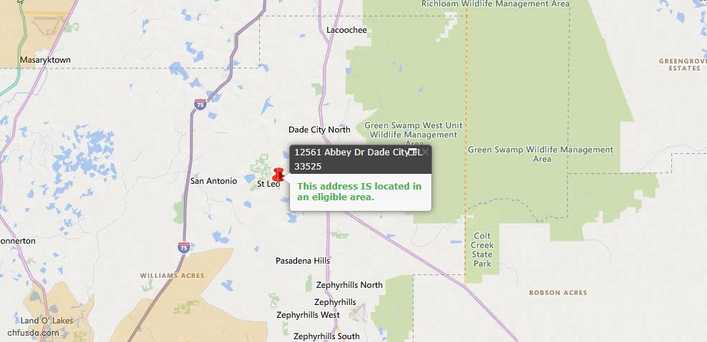 USDA Loan Eligiblity Map - 12561 Abbey Dr, Dade City, FL 33525