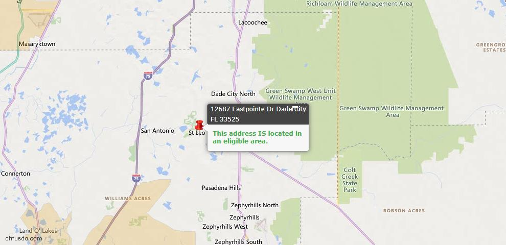 USDA Loan Eligiblity Map - 12687 Eastpointe Dr, Dade City, FL 33525