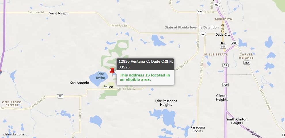 USDA Loan Eligiblity Map - 12836 Ventana Ct, Dade City, FL 33525