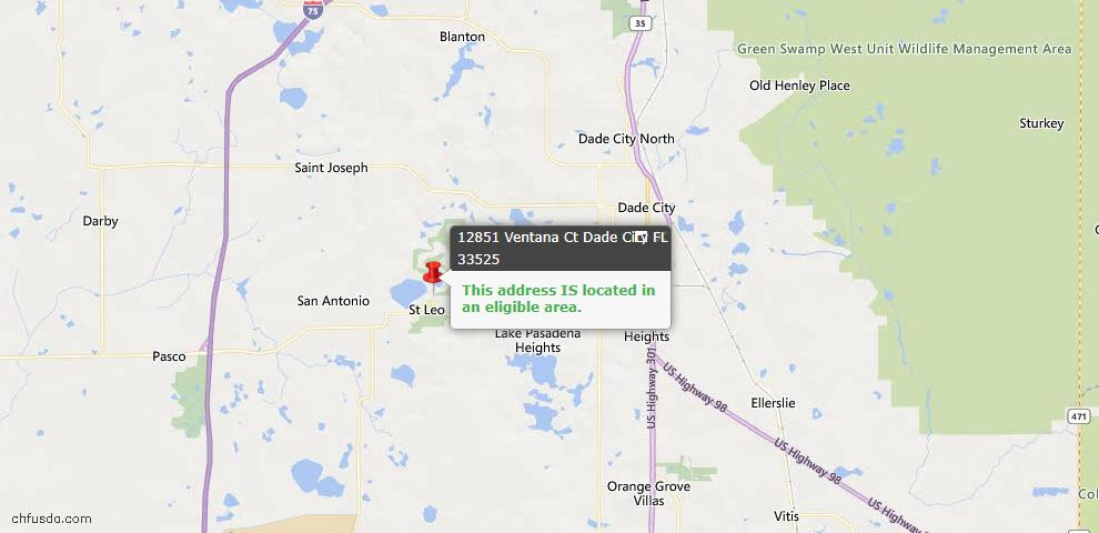 USDA Loan Eligiblity Map - 12851 Ventana Ct, Dade City, FL 33525