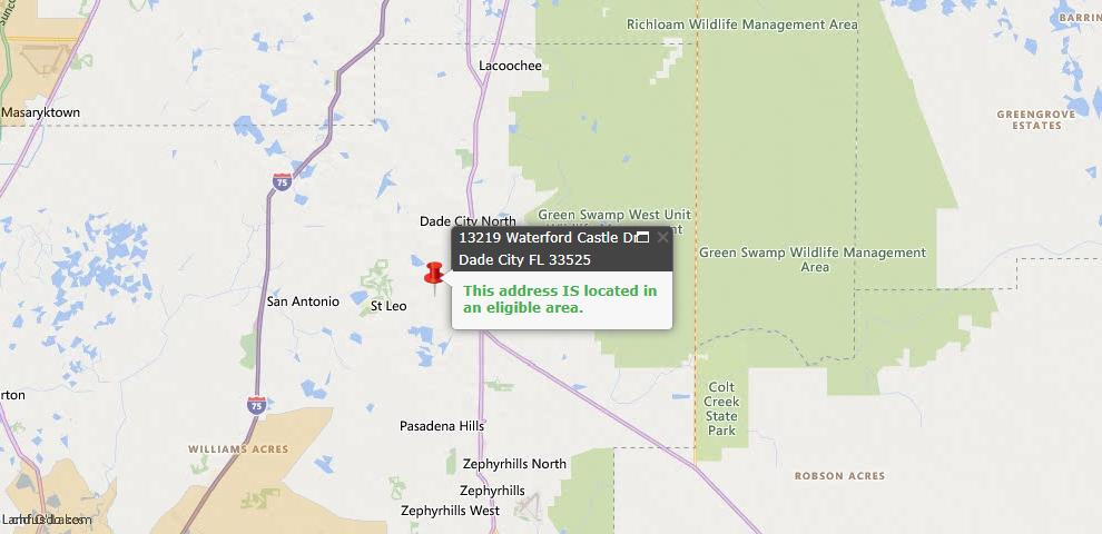 USDA Loan Eligiblity Map - 13219 Waterford Castle Dr, Dade City, FL 33525