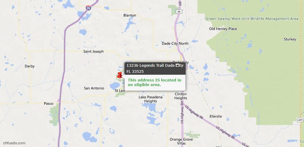 USDA Loan Eligiblity Map - 13236 Legends Trl, Dade City, FL 33525