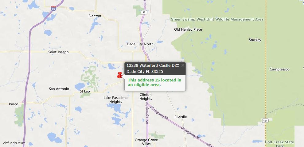 USDA Loan Eligiblity Map - 13238 Waterford Castle Dr, Dade City, FL 33525