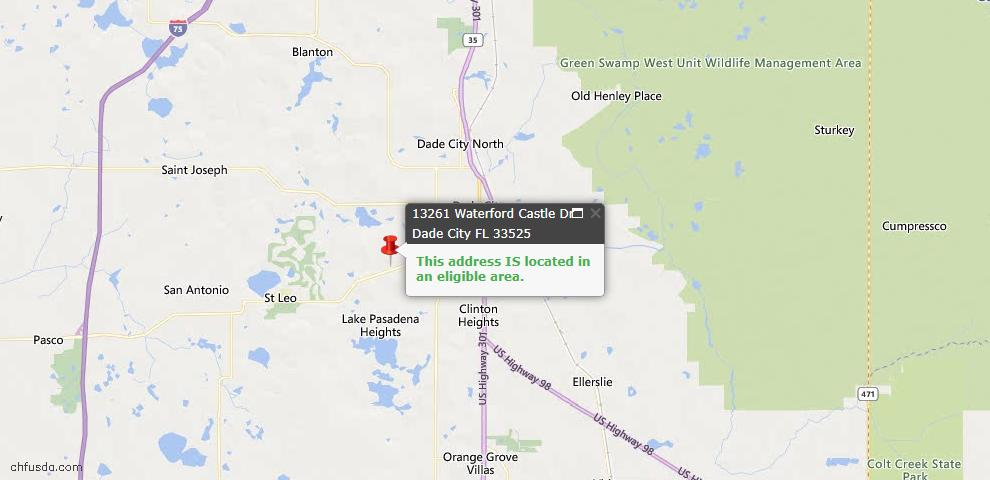 USDA Loan Eligiblity Map - 13261 Waterford Castle Dr, Dade City, FL 33525