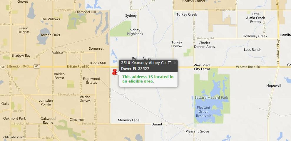 USDA Loan Eligiblity Maps From - Dover, FL