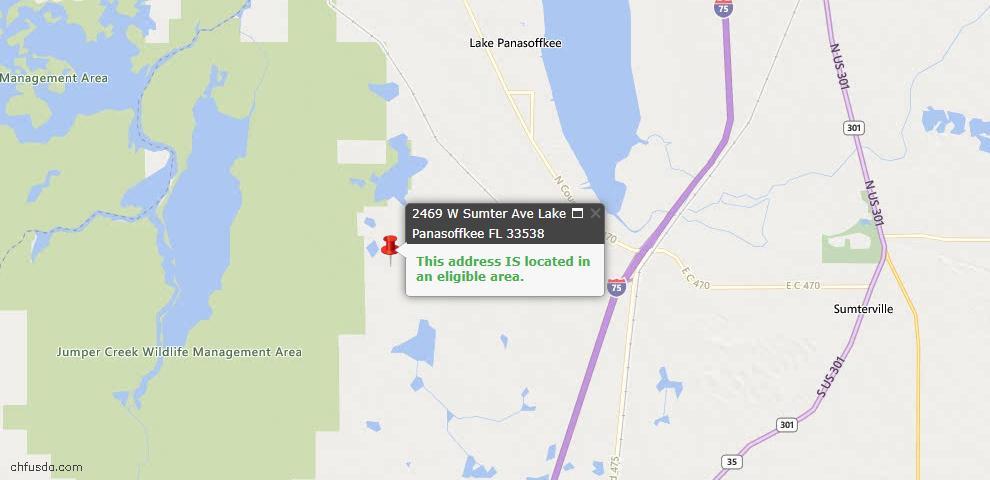 USDA Loan Eligiblity Maps From - Lake Panasoffkee, FL
