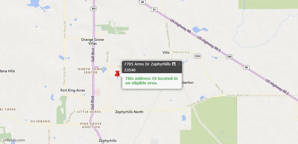 USDA Loan Eligiblity Map - 7705 Arms Dr, Zephyrhills, FL 33540