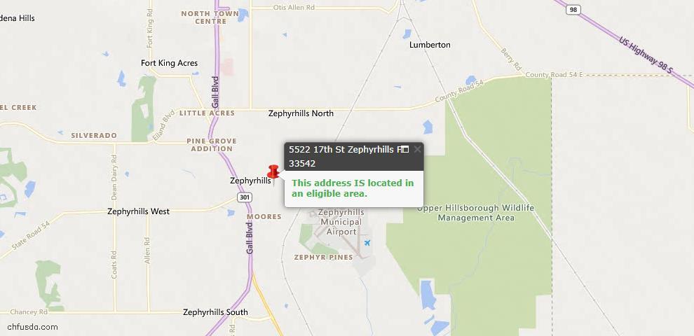USDA Loan Eligiblity Maps From - Zephyrhills, FL