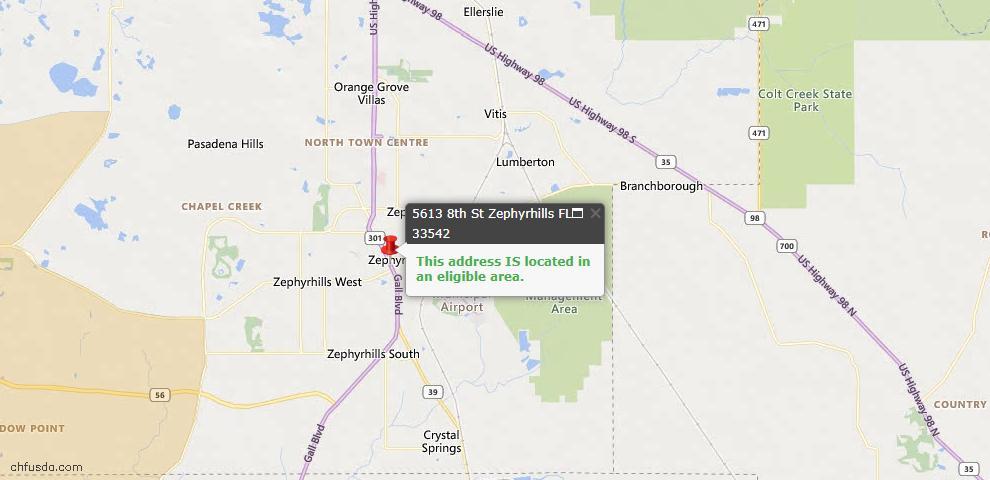 USDA Loan Eligiblity Map - 5613 8th St, Zephyrhills, FL 33542