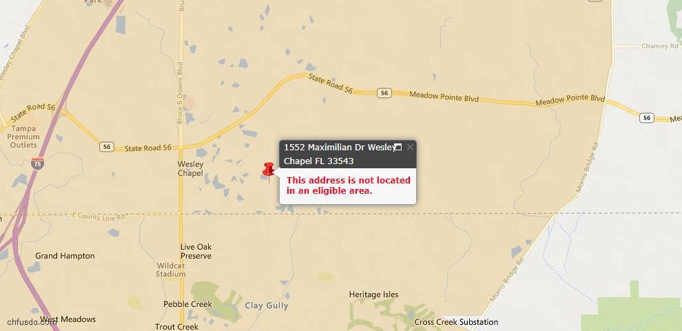 USDA Loan Eligiblity Maps From - Wesley Chapel, FL