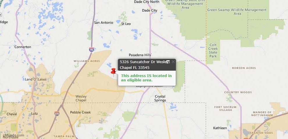 USDA Loan Eligiblity Map - 5326 Suncatcher Dr, Wesley Chapel, FL 33545