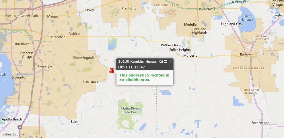 USDA Loan Eligiblity Map - 10130 Ramblin Hinson Rd, Lithia, FL 33547