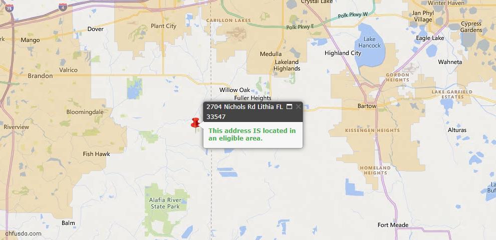 USDA Loan Eligiblity Map - 2704 Nichols Rd, Lithia, FL 33547