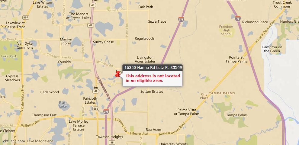 USDA Loan Eligiblity Maps From - Lutz, FL