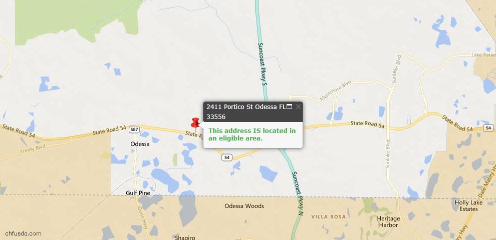 USDA Loan Eligiblity Maps From - Odessa, FL
