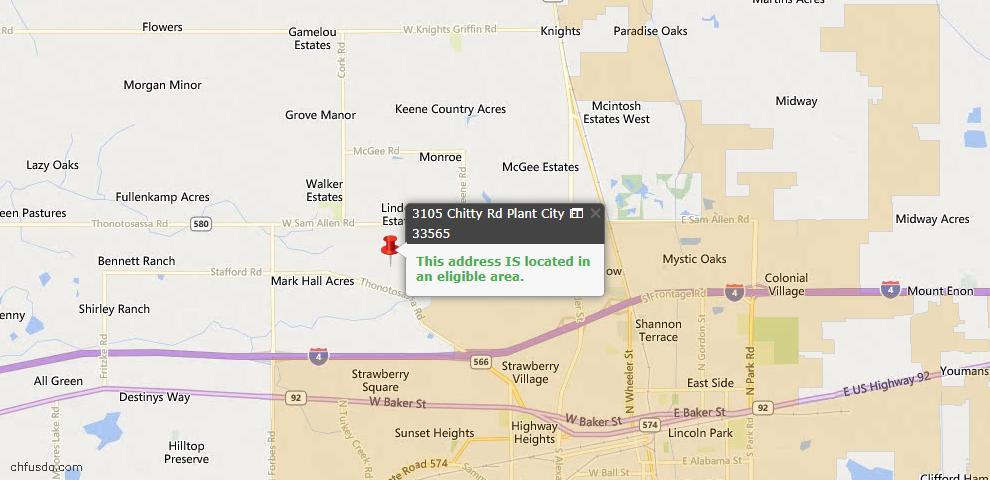 USDA Loan Eligiblity Map - 3105 Chitty Rd, Plant City, FL 33565