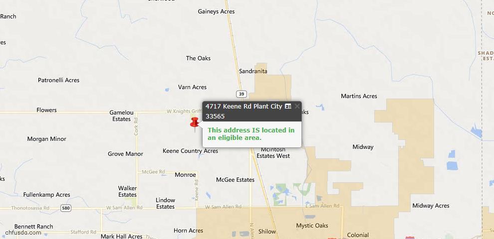 USDA Loan Eligiblity Maps From - Plant City, FL