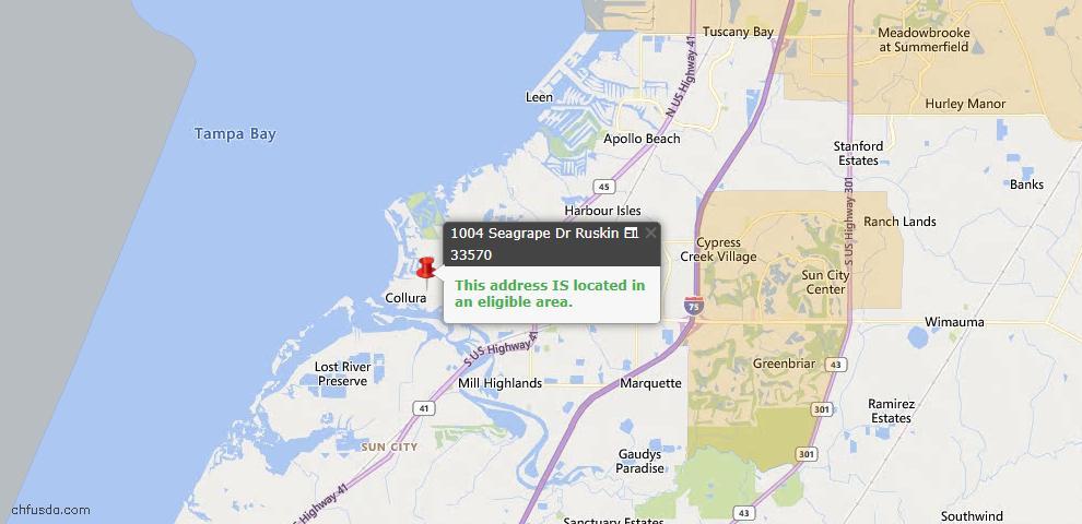 USDA Loan Eligiblity Map - 1004 Seagrape Dr, Ruskin, FL 33570