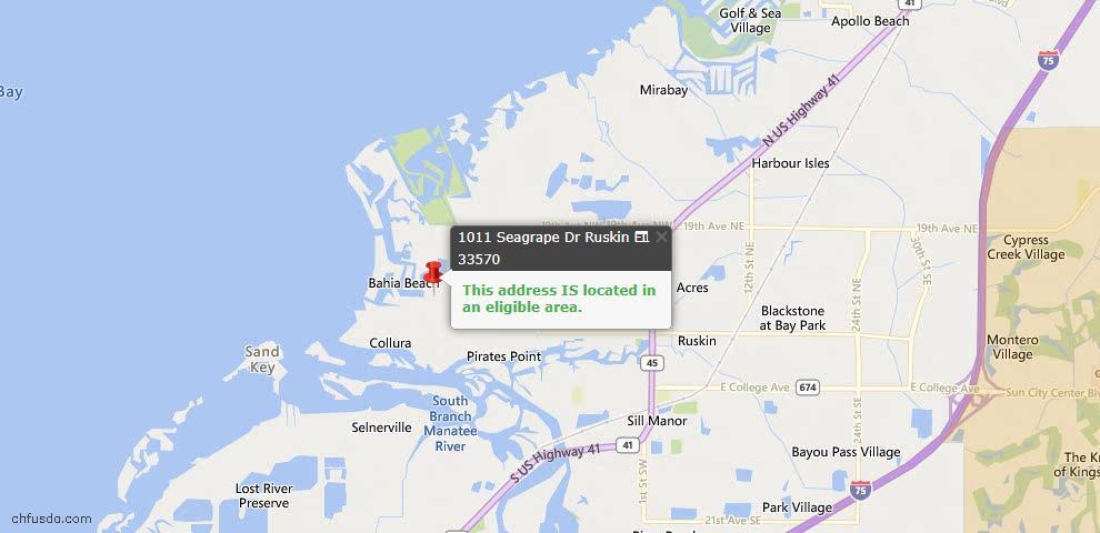USDA Loan Eligiblity Map - 1011 Seagrape Dr, Ruskin, FL 33570