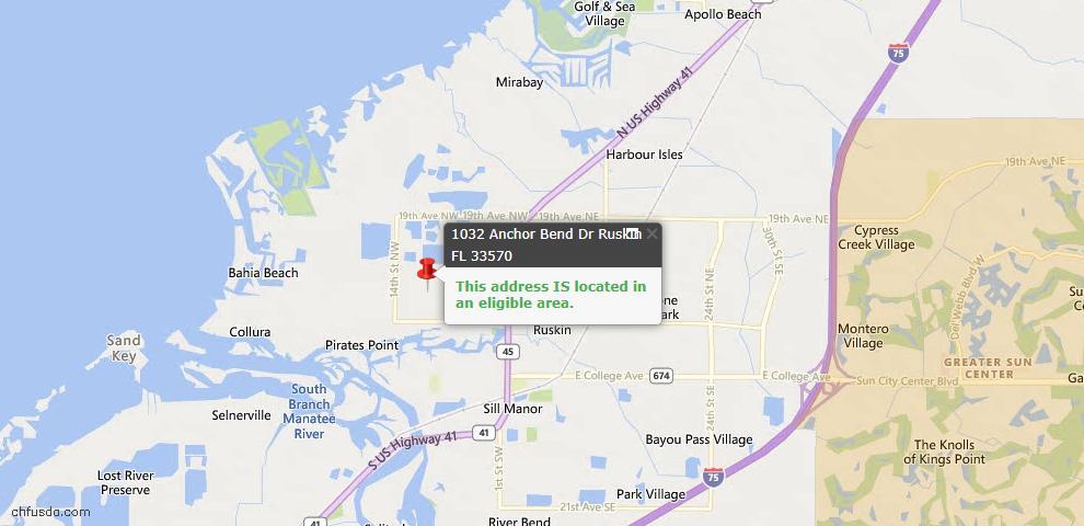 USDA Loan Eligiblity Map - 1032 Anchor Bend Dr, Ruskin, FL 33570