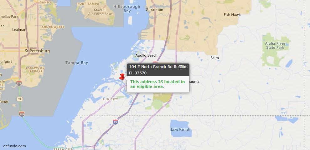 USDA Loan Eligiblity Map - 104 E North Branch Rd, Ruskin, FL 33570