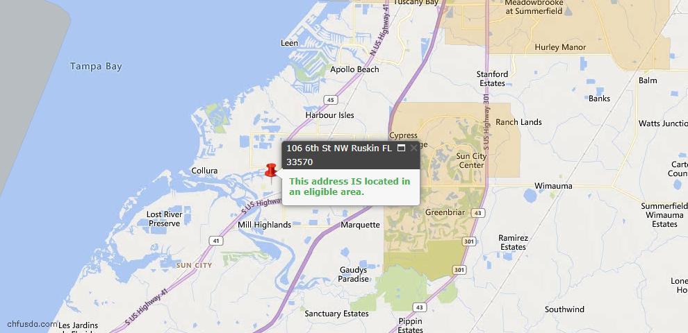 USDA Loan Eligiblity Map - 106 6th St NW, Ruskin, FL 33570