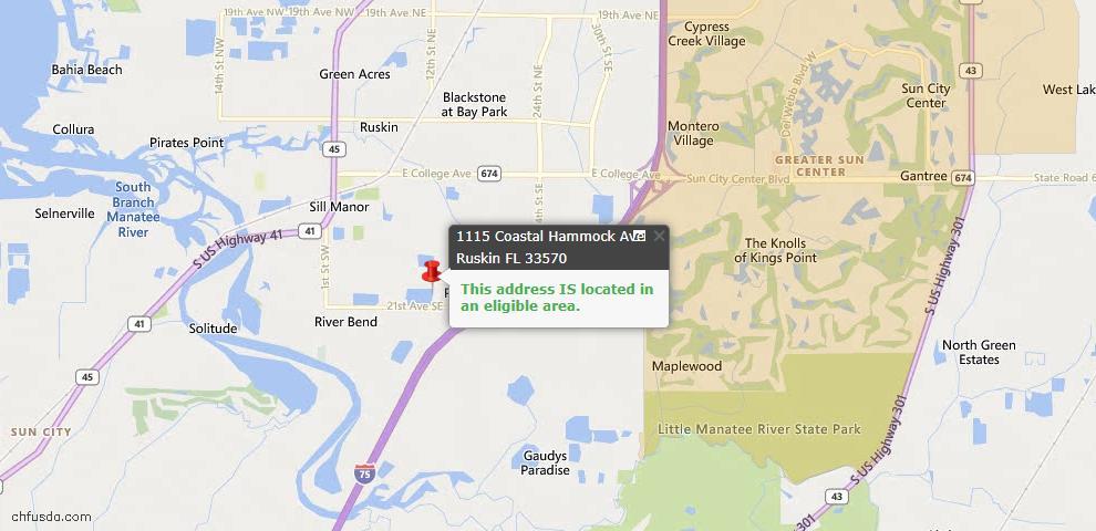 USDA Loan Eligiblity Map - 1115 Coastal Hammock Ave SE, Ruskin, FL 33570
