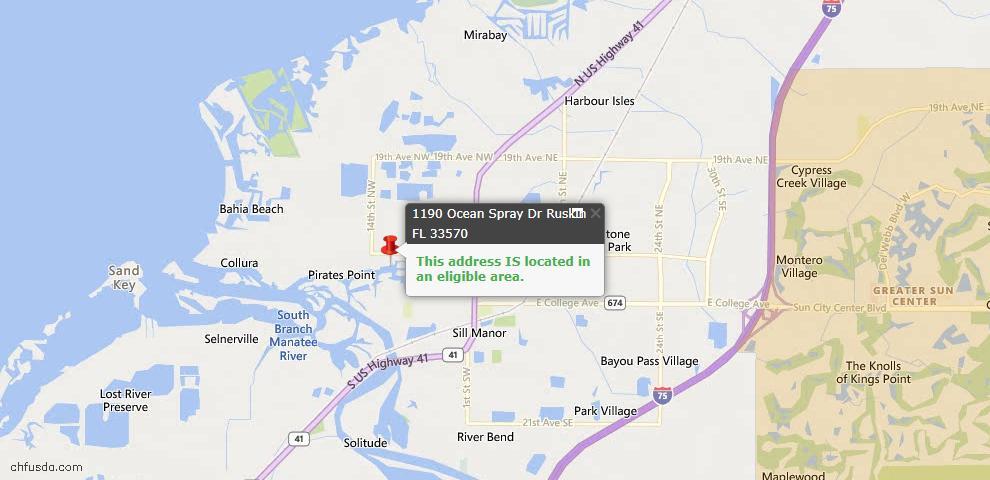 USDA Loan Eligiblity Map - 1190 Ocean Spray Dr, Ruskin, FL 33570