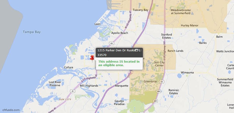 USDA Loan Eligiblity Map - 1215 Parker Den Dr, Ruskin, FL 33570