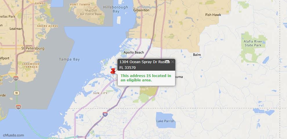USDA Loan Eligiblity Map - 1304 Ocean Spray Dr, Ruskin, FL 33570