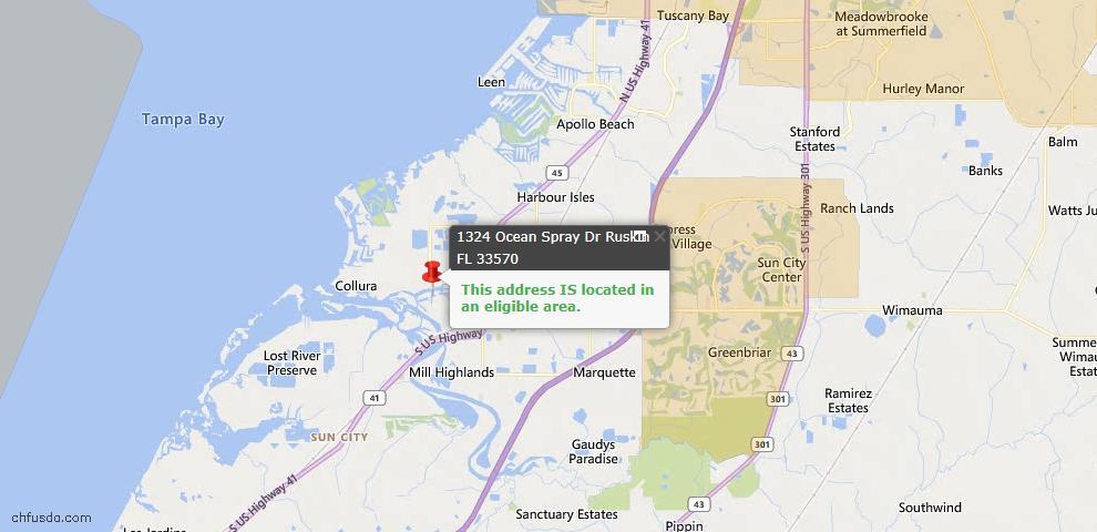 USDA Loan Eligiblity Map - 1324 Ocean Spray Dr, Ruskin, FL 33570