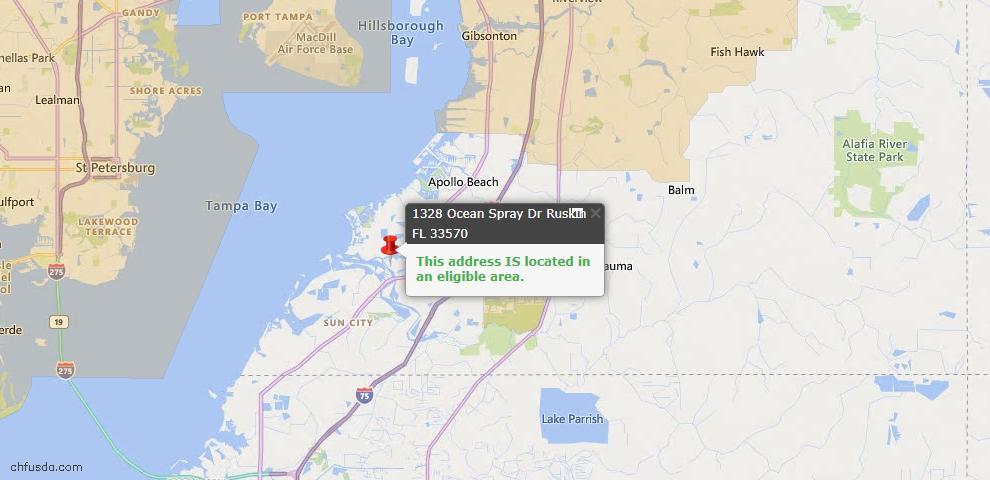 USDA Loan Eligiblity Map - 1328 Ocean Spray Dr, Ruskin, FL 33570