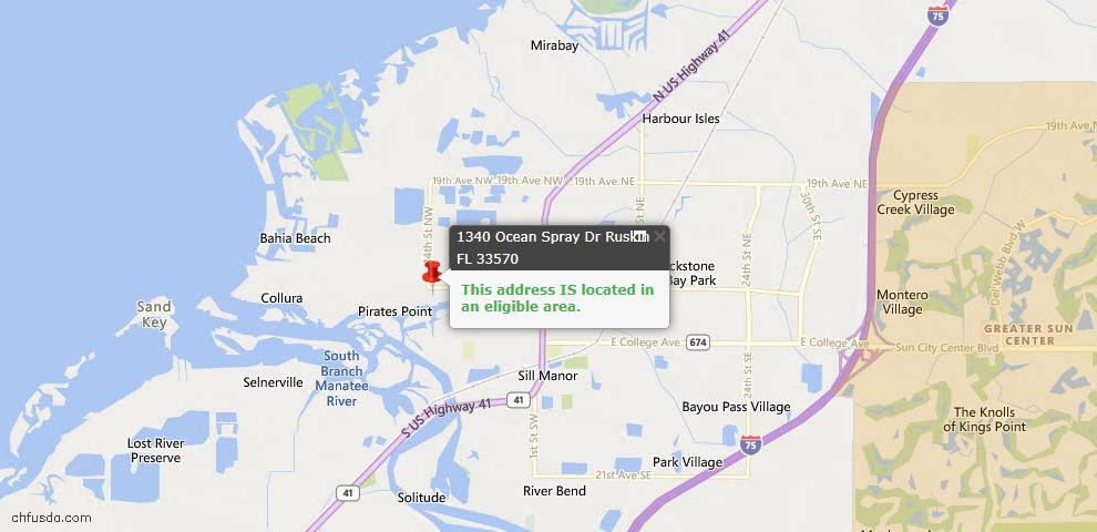 USDA Loan Eligiblity Map - 1340 Ocean Spray Dr, Ruskin, FL 33570