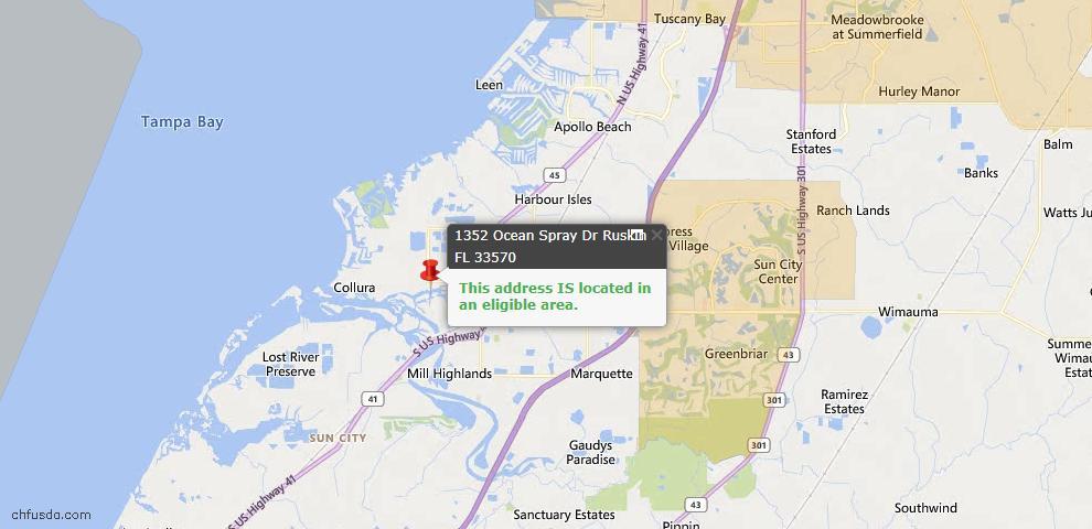 USDA Loan Eligiblity Map - 1352 Ocean Spray Dr, Ruskin, FL 33570